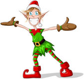 Christmas Elf Spreading Arms And Smiling — Stock Vector