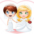 Lesbian Brides In Dresses Getting Married — Stock Vector