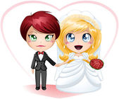 Lesbian Brides In Dress And Suit Getting Married — Stock Vector