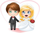 Bride and Groom Getting Married — Stock Vector