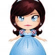 Princess With Black Hair In Blue Dress — Stock Vector #19182773