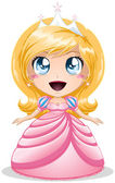 Blond Princess In Pink Dress — Stock Vector