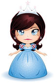 Princess With Black Hair In Blue Dress — Stock Vector