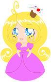 Blond Cupcake Princess In Pink Dress — Stock Vector