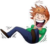Typ Rollen am Boden vor Lachen — Stockvektor