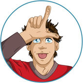 Guy Shows Loser Signal With His Fingers — Stock Vector