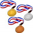 First Second and Third Place Medals Pack — Stock Vector #37374725