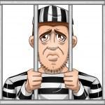 Sad Prisoner Behind Bars — Stock Vector #37374773