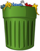 Trash Can with Trash Inside — Stock Vector