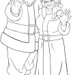 SantAnd Mrs Claus Waving Hands For Christmas Coloring Page — Stock Vector #39720579