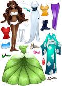 African American Girl Princess Dress Up — Stock Vector