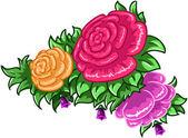 玫瑰花和叶子 — 图库矢量图片