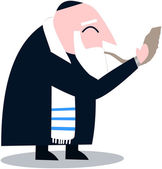 Rabbi With Talit Blows The Shofar — Stock Vector