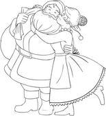 Mrs claus kysser santa på kinden och kramar målarbok — Stockvektor