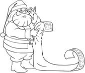 Santa Claus Reads From Christmas List Coloring Page — Stok Vektör