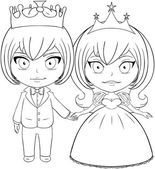 Prince and Princess Coloring Page 2 — Stock Vector