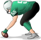 Football Player Kneels and Holds Ball Side View — 图库矢量图片