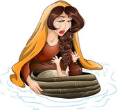 Moses Placed In Water By His Mother — Stock Vector