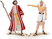 Pharaoh Sends Moses Away For Passover — Stock Vector
