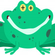 Green Frog Smiling — Stock Vector