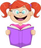 Girl With Glasses Reading From Book — Stock Vector