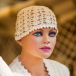Maneken in a white beanie - Stockfoto