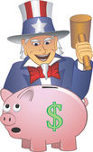 Uncle Sam Smashing Piggy Bank — Stock Vector
