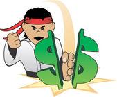 доллар измельчения каратэ — Cтоковый вектор
