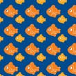 Orange fishes, seamless pattern of fish - Stock Vector