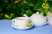 Ontbijt buitenshuis met linden thee — Stockfoto