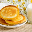 Homemade pancakes with sour cream and milk — Stok fotoğraf