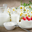 Foto Stock: Cottage cheese with raspberries, sour cream and milk