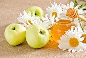 Honey with apples — Stock Photo