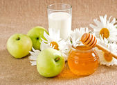 Honey with apples and milk — Stock Photo