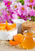 Oatmeal with apricot in the bowl — Stock Photo