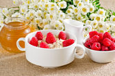 Oatmeal with raspberries — Stock Photo