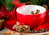 Coffee cup with cinnamon — Stock Photo