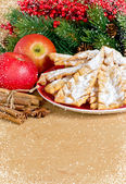 Sweet pastry on the spruce background — Stock Photo