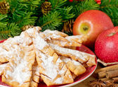 Sweet pastry on the spruce background — Stok fotoğraf