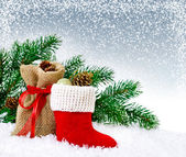 Christmas card with Santa's boot — Stockfoto