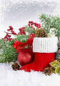 Christmas card with Santa's boot — Stock Photo