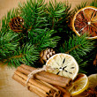 Stockfoto: Christmas composition with dry spices