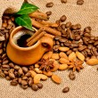Stock Photo: Сoffee beans and clay cup