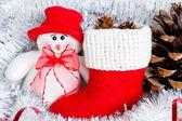 クリスマス雪だるまやサンタ クロースのブート構成 — ストック写真