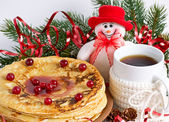 Christmas composition with pancakes and snowman — Zdjęcie stockowe