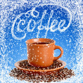 Cup hot coffee in the winter cafe — Stock Photo