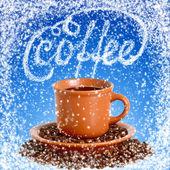 Taza de café caliente en la cafetería de invierno — Foto de Stock