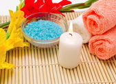 Spa still life with sea salt and candle — Stock Photo