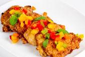 Pork chop and sweet pepper — Stock Photo