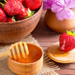 Постер, плакат: Still life of strawberries and honey